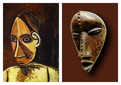 Left: Pablo Picasso, <em>Head of a Woman </em>(1907); Right: African Dan mask